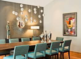 Mirror Wall Art Ideas For Modern Dining Room With Starburst Shaped Style And Grey Accent Colors Turquoise 10 Chairs Narrow Long Table Wood Floor