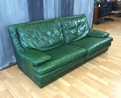 100 Roche Bobois Leather Sofa Vintage Green SOLD Past