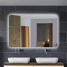 horizontal led lighted vanity bathroom silvered mirror