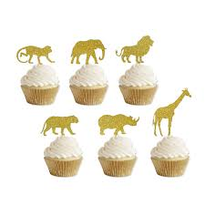 Gold Glitter Jungle Safari Animal Cupcake Toppers Elephant Giraffe Rhino Lion Tiger Monkey For Jungle Safari Baby Shower Birthday Party Supplies