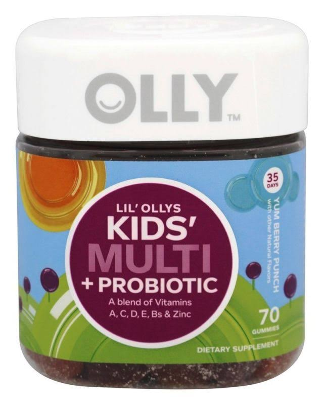 Ollys Kids Multi and Probiotic Dietary Supplement - Yum Berry Punch, 70ct