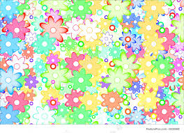 Abstract Patterns Cute Cartoon Art Flowers Simple Color Background