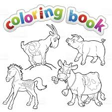 Coloring Book Farm Animals Stock Vector Art 512157841