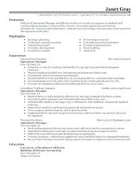 District Manager Resume Operations Sample