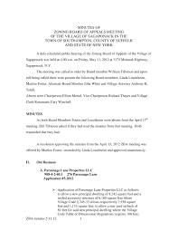 100 Sagaponack Village MINUTES OF ZONING BOARD OF APPEALS MEETING OF THE VILLAGE