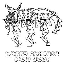 Chinese New Year Coloring Pages Lion Dance