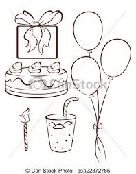 A Simple Drawing A Birthday Celebration Vector