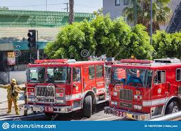 100 Red Fire Trucks Los Angeles Men At Work With Editorial