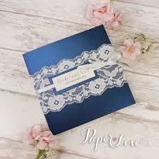 Navy Blue Metallic Pocket Fold Rustic Wedding Day Invitation