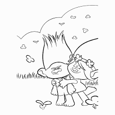 Branch And Poppy With Rainbow Coloring Page Coloriage Les Trolls