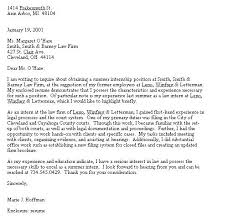 Law Firm Cover Letters Letter For Internship Throughout