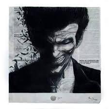 TheJoker OmarofGH Tags White Black Art Blanco Smile Painting Square Newspaper Paint Negro
