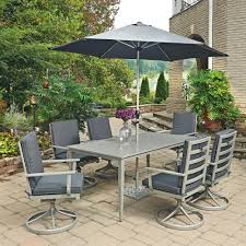 7 Piece Patio Dining Set With Umbrella by Hampton Bay Oak Cliff 5 Piece Metal Outdoor Dining Set With Chili