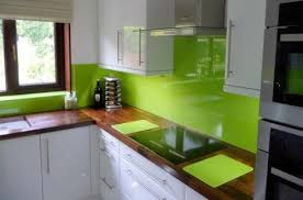 White Cabinets Lime Green Walls Med Tone Wood