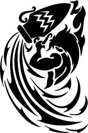 Black Tribal Aquarius Tattoo Design