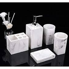 yiyida badezimmer zubehör badausstattung sets 5 teiliges aus harz marmor aussehen mit seifenspender zahnputzbecher seifenschale zahnbürsten halter
