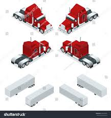 Isometric American Show Truck Tractor Transporting Stock Vector ...
