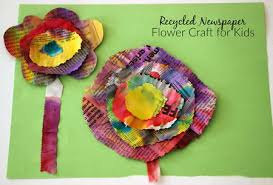Recycled Newspaper Flower Craft