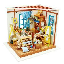 Amazoncom Rolife Wooden Miniature Dollhouse Kit With LightDIY Art