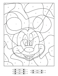Easy Color By Number Worksheets Mickey Mouse Color By Number Sheet
