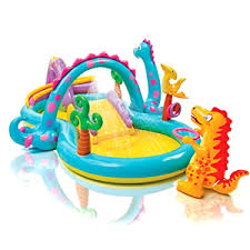 Image Is Loading Inflatable Pool Slide Dinosaur Land Play Center Intex