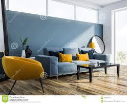 blaues wohnzimmer blaues sofa lehnsessel stock abbildung