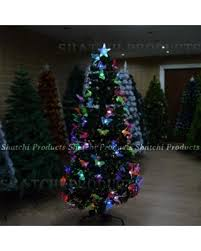 5ft 150cm Christmas Tree Fiber Optic Pre Lit Xmas With Butterfly LED Lights