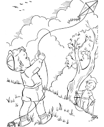 Free Printable Spring Coloring Pages Flying Kite