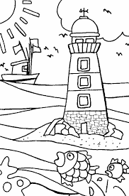 Beach Coloring Pages Lighthouse