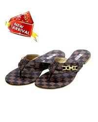 Women Party Wear Flat Slip On Brown Checkered Fashion Sandal