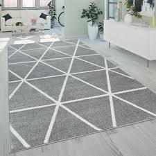 kurzflor teppich grau weiß wohnzimmer rauten muster skandi