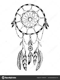 Hand Draw Rustic Dream Catcher Boho Style Vector Illustration On White Background Stock