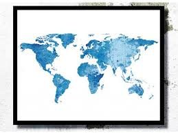 World Map Watercolor Print Poster Travel Large Art Home Decor
