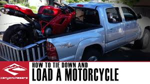 How To Load And Tie Down A Motorcycle In A Truck Or A Trailer - YouTube