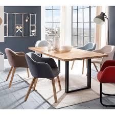 standard furniture stuhl theo mit 4 fußgestell holzfüße eiche natur bezugfarbe sitzschale grau esszimmer schalenstuhl
