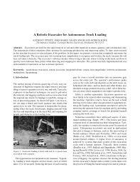 PDF) A Robotic Excavator For Autonomous Truck Loading