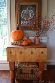 Fall Decor At Three Pixie Lane Pumpkins And More LOVE The Butcher Block Table