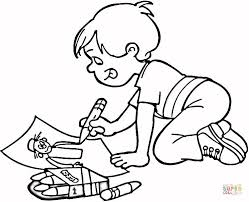Click The Little Boy Drawing A Masterpiece Coloring Pages