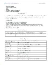 Java Developer Sample Resume Awesome For 2 Year Experience