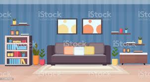 modernes wohnzimmerinterieur leer keine menschen wohnung mit und bücherregal flach horizontal stock vektor und mehr bilder abstrakt