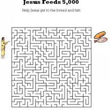 Kids Bible Worksheets Jesus Feeds 5000 Maze