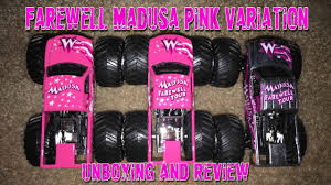100 Madusa Monster Truck Toy Jam Farewell Tour Pink UnboxingReview YouTube