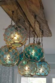 Vintage Glass Fishing Float Light Fixture Chandelier With 7 Floats Lights
