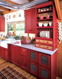 Rustic Red Kitchen Cabinets Very Attractive 3 Images About Color For
