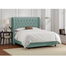 Skyline Furniture Tufted Headboard by Skyline Furniture Tufted Wingback Bed In Velvet Caribbean