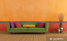 fototapete grün rot und orange wohnzimmer