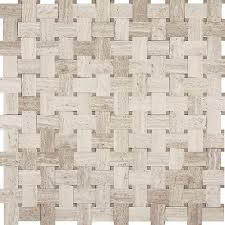 marble mosaic tile white oak wood silver beige basket weave with