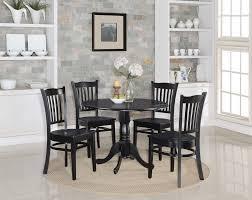 5PC SET ROUND KTCHEN TABLE W 4 WOOD SEAT CHARS N BLACK ...