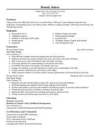 Full Time Nanny Resume Sample