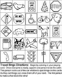 Travel Bingo Board 4 Coloring Page